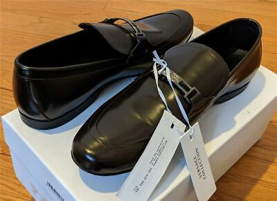 $650 Mens Versace Collection Classic Leather Loafers Brown 42 US 9