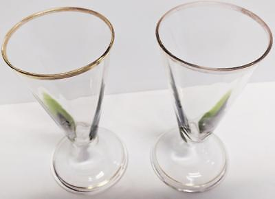 Rare & Exceptional Antique French Absinthe Glasses w/Green leaf Overlay