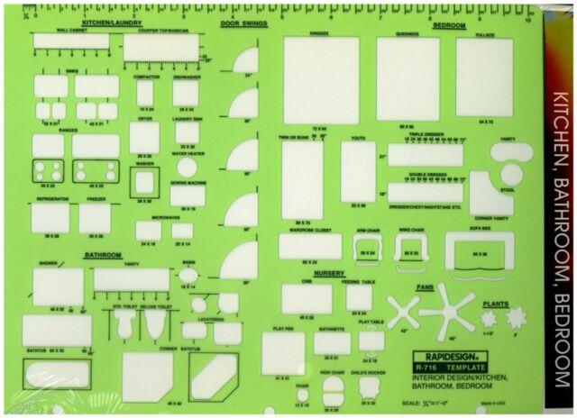 berol rapidesign template interior design kitchen bathroom bedroom r 716 - Bedroom Design Template