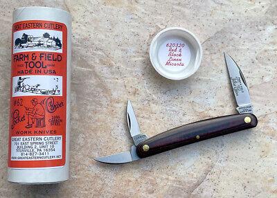 Great Eastern Cutlery 620320 Pocket Carver, Red & Black Linen Micarta