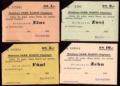 [10564] - 1945: 4 x NOTGELD GÖPPINGEN, Gebr. MARTIN Bank, 1 - 10 Mk, 00.00.1945,
