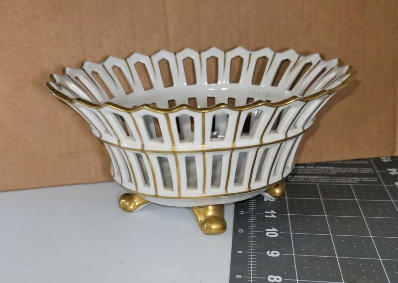 Antique Old Paris Porcelain Reticulated Footed Basket Bowl Claw Oval White Gold