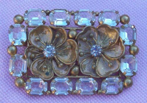Vintage Antique Victorian Large Gold Brass Crystal Glass & Paste Flower Brooch