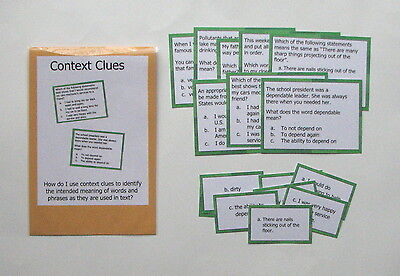 Teacher Made Literacy Center Learning Resource Game Upper Level Context Clues