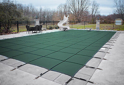 HPI Rectangle GREEN MESH In-Ground Swimming Pool Safety Cover (Choose Size)