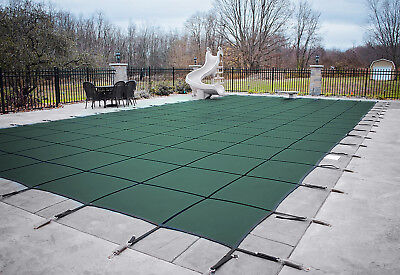 Loop Loc Green Mesh Rectangle Swimming Pool Safety Covers - (Choose Size) ()