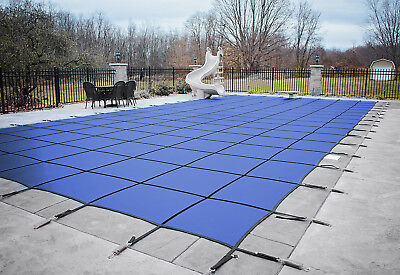 HPI Rectangle BLUE MESH In-Ground Swimming Pool Safety Cover (Choose Size) ()