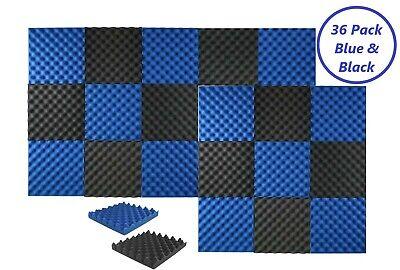 - 36 PK Acoustic Foam Black Blue Egg Panel Wall Tile Soundproofing 12 x 12 x 1.4