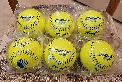 Lot of 6 Dudley Thunder SY USSSA Classic M Yellow Softball - 4U-541Y - NEW