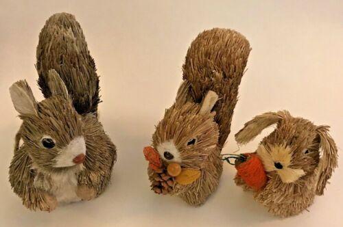 Pier 1 Squirrels 2 & 1 Chipmunk Sisal Woodland Animals Fall Holiday Decor