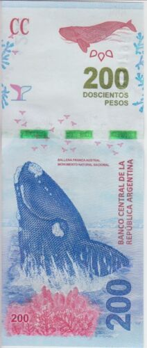 Argentina Banknote P. New 200 Pesos, Whale,  Series F, UNC