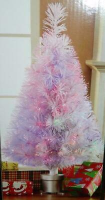 "White Fiber Optic 32"" Xmas Tree 2.5' Pre-Lit Decoration Holiday Electric or USB"