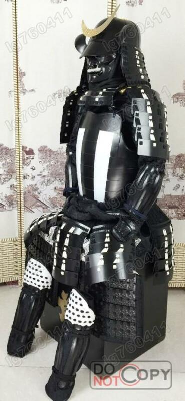 wearable  Japanese Rüstung Art Samurai Armor suit Iron & Silk black white