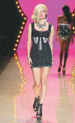 BETSEY JOHNSON Corset Bones Tank Dress Wool Black Runway Skeleton