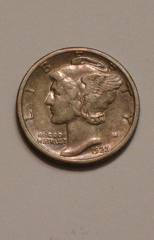 1925 S Mercury Dime Nice Original FULL DETAIL Subtle Rainbow TONE - $34.00