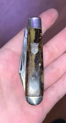 Scarce Vintage KEEN KUTTER Two Blade Equal End POCKET KNIFE Nice Marble Scales
