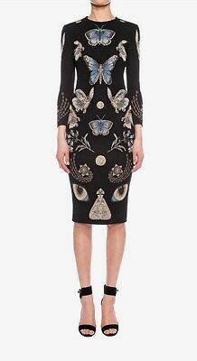 $2.2K ALEXANDER MCQUEEN OBSESSION BLACK MULTICOLOR PENCIL KNIT DRESS XS $2165