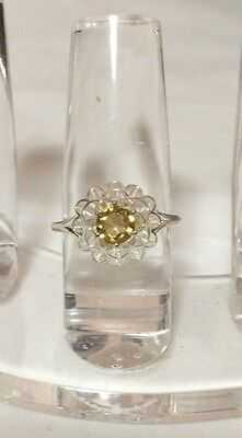 Sterling Silver Ring with Genuine Champagne Quartz AVON Size 8