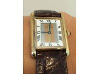 Must De Cartier Tank Tricolour 18ct Gold Vermeil Watch with Original Box and certificate