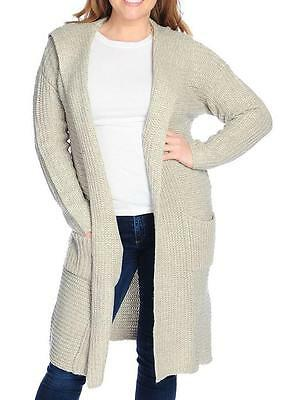 Drop Shoulder Knit Cardigan - NEW - Kate & Mallory® Sweater Knit Drop Shoulder Open Front Hooded Cardigan