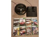 Logitech DriveFX Steering Wheel and Pedals for Xbox 360 + 8 Games