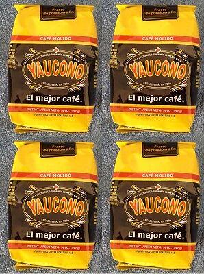 4 PACK CAFE YAUCONO COFFEE PUERTO RICO BRAND MOLIDO GROUND 14oz FREE SHIPPING