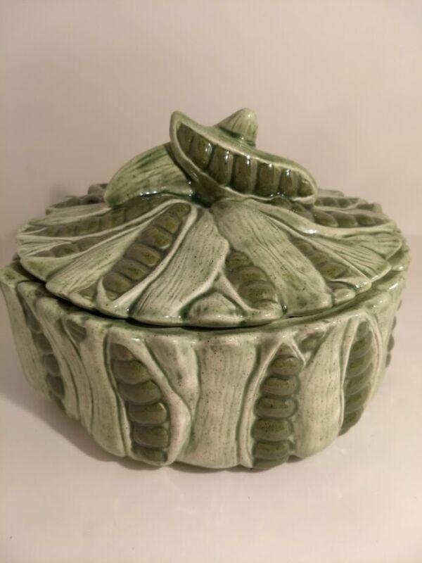 Vintage/Antique Figural Ceramic Green Pea Covered Casserole Dish