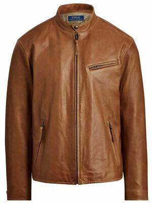 Polo Ralph Lauren Cafe Racer Jacket $750 leather Motorcycle Moto Medium M
