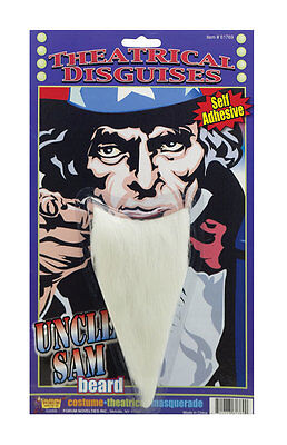 Long White Beard Uncle Sam Wizard Sorcerer Facial Hair Old Man Chin Adult Mens