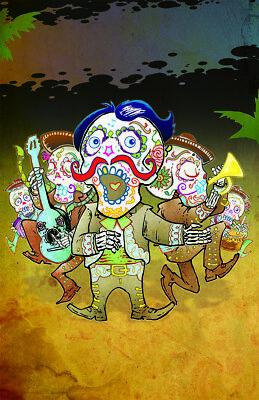 Day of the dead art, Mariachi, Calavera, Sugar Skull Art, signed by