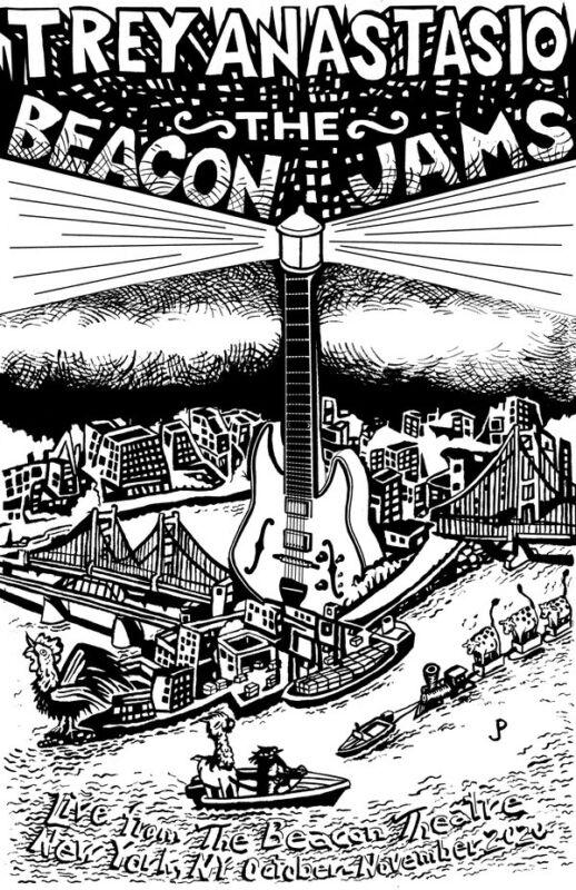 "Jim Pollock & Trey Anastasio ""The Beacon Jams"" Line Art Edition Of 200 Signed"
