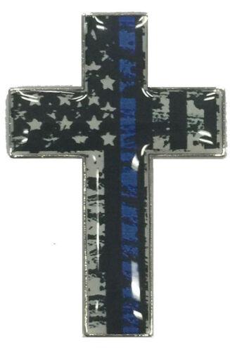 USA Blue Line Cross Lapel Hat Cap Pin Law Enforcement Honor Police FAST USA SHIP