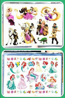 Lot of 2 Sheets of Disney Temporary Tattoos - Tangled & Little - Little Mermaid Temporary Tattoos