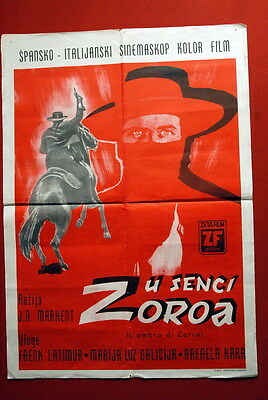 SHADOW OF ZORRO MARCHENT FRANK LATIMORE 1962 RARE EXYU MOVIE POSTER