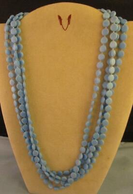 60s -70s Jewelry – Necklaces, Earrings, Rings, Bracelets Vtg 60s 1960s  Multi 4 Strand Light Blue Plastic Beads Necklace 23