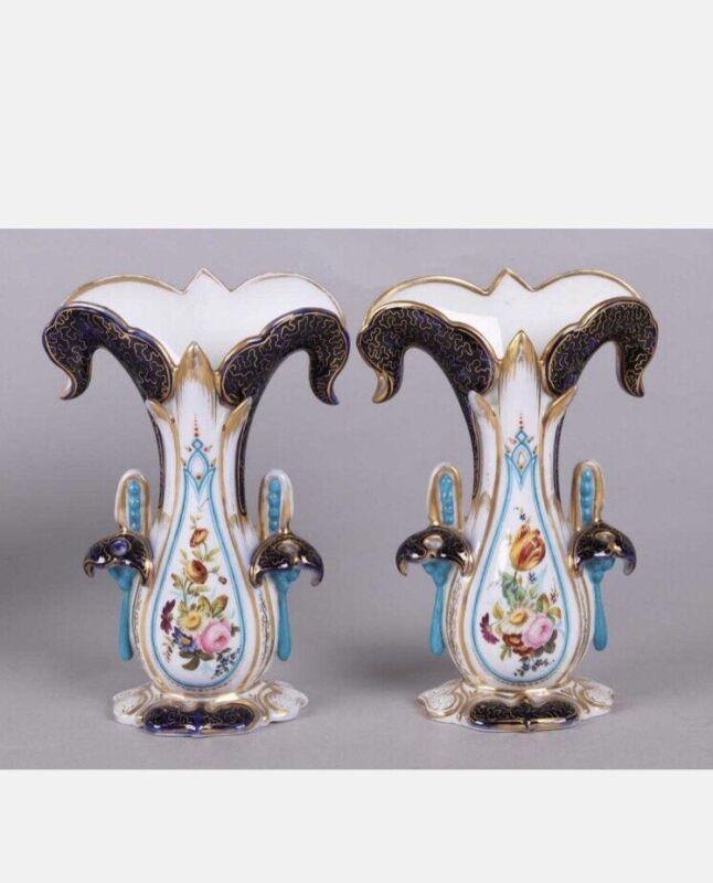 2 Days Sale!! Exquisite Shape Old Paris porcelain vases
