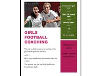 Girls football coaching and tots football sessions