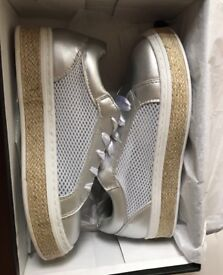 Missguided silver mesh trainer size 5