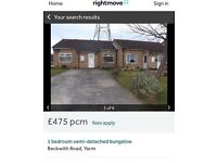 To rent NOW one Bedroom bungalow