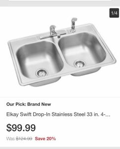 "33"" double stainless sink brand new in box"