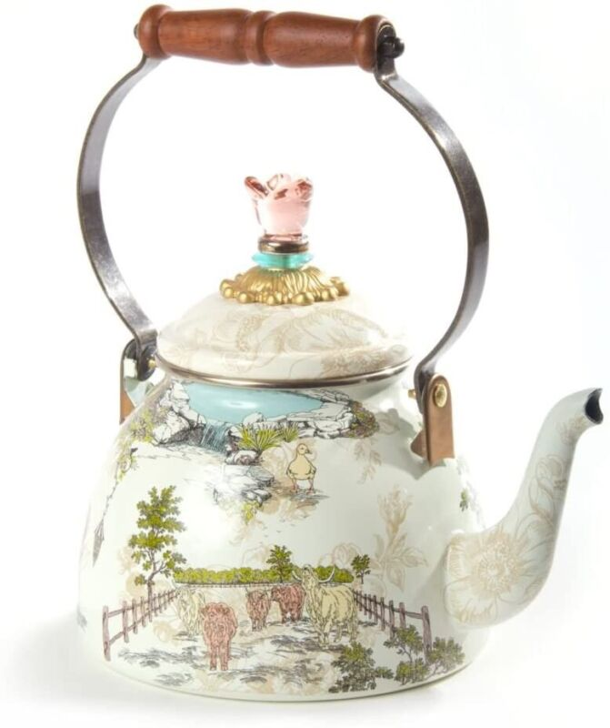 Mackenzie Childs Aurora 2 Quart Tea Kettle NEW RETIRED