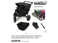 Out n About V4 Nipper Double With Extras & Brand New Hoods ~ Black