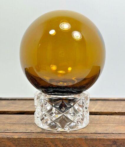 Vintage Japanese Handblown Float Glass Amber Button