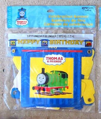 Thomas & Friends Happy Birthday Party Garland Banner NIP 5.67 ft long [have 2] - Thomas Birthday Banner