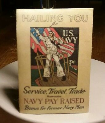 Unused WWII U.S. Navy Hailing You Pay Raised Travel Trade Label Sticker Silk Tag