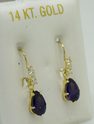 AMETHYST 1.64 Cts  & WHITE SAPPHIRE DANGLING EARRINGS 14K GOLD  ** New With Tag
