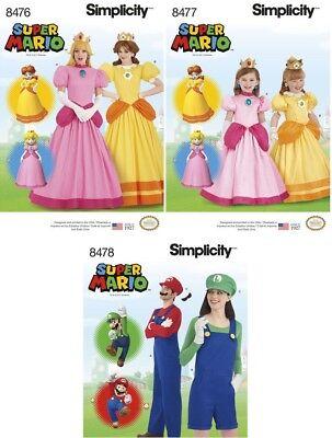 8 OOP SUPER MARIO Men/Misses/Teen/Girls Costume Sew Patterns (Teen Mario Costume)