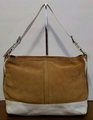 INNUE Medium White Leather & Brown Suede Hobo/Shoulder Bag/Handbag/Purse in GUC!