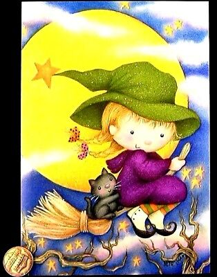Adorable Witch Girl Broom Black Cat Moon *GLITTERED* Halloween Greeting Card NEW - Halloween Card Animated