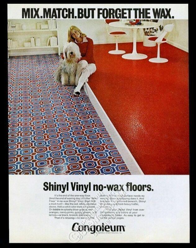 1972 Old English Sheepdog photo Congoleum flooring vintage print ad